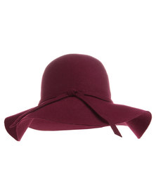 Tweet Wide Brim Hat Burgundy