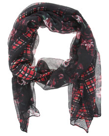 Tweet Tartan Rose Scarf Black