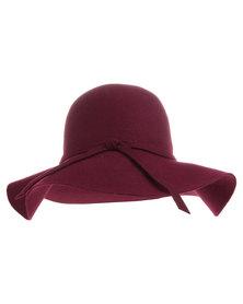 Tweet Wide Brim Hat Burgundy
