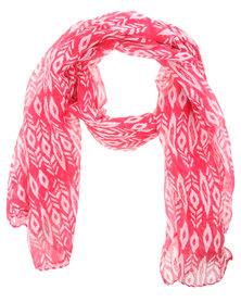 Tweet Two Colour Tribal Scarf Pink/White