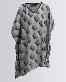 UB Creative Open Shoulder Cover Up Kaftan 3D Black Square
