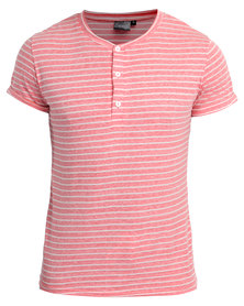 Unruly Stripe Henley Tee Pink