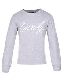 Unruly Sweatshirt with White Print Grey