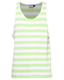 Unruly Stripe Tee White and Lime