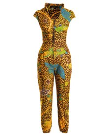 Urban Zulu Full Print Jumpsuit Yellow
