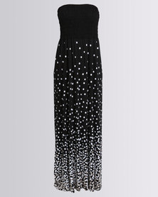 Utopia Spot Maxi Boobtube Dress Black/White