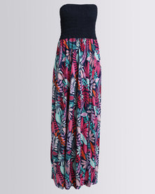 Utopia Printed Maxi Boobtube Dress Multi