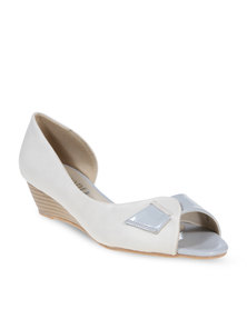 Utopia Monochrome Peep-Toe Wedges Grey