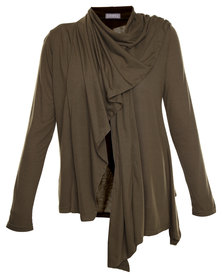 Utopia Waterfall Cardigan Khaki
