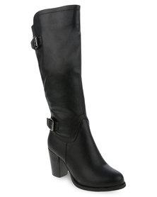 Utopia Buckle Knee High Heel Boot Black