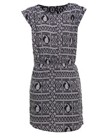 Utopia Summer Viscose Tunic Dress Black/White
