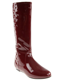 Utopia Patent Quilted Knee High Boot Burgundy