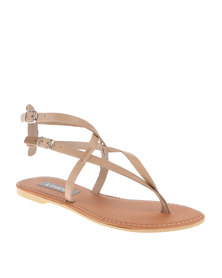 Utopia Strappy Thong Sandals Brown