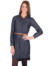 Utopia Tencel Belted Dress Blue