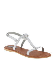 Utopia Barely There I-Bar Flat Sandals White