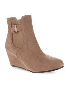 Utopia Wedge Ankle Boots Camel
