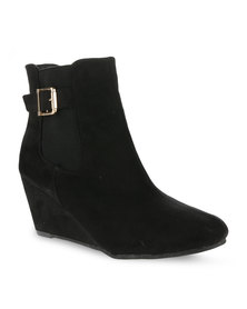 Utopia Wedge Ankle Boots Black