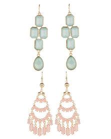 Utopia Drop Earrings 2-Pack Pale Green Pink