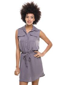 Utopia Silk Touch Shirt Dress Grey