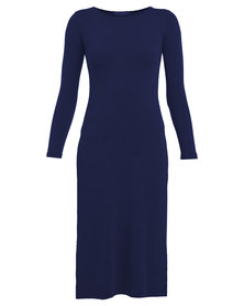 Utopia Long Top with Side Slits Navy