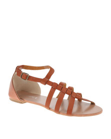 Utopia Cross Strappy Flat Sandals Brown