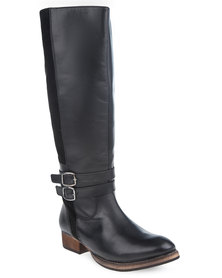 Utopia Leather Buckled Riding Boots Black