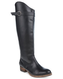 Utopia Leather Back Zip Riding Boots Black