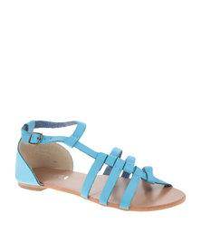 Utopia Cross Strappy Flat Sandals Blue