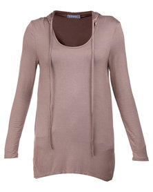 Utopia Long Sleeve Hoodie Knit Top Coffee