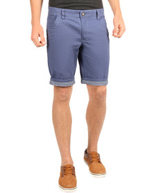 Utopia Flat Fit Stripe Turn-Up Shorts Muted Blue
