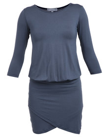 Utopia Dress with Wrap Skirt Charcoal