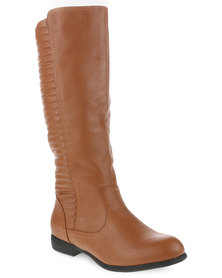 Utopia Quilted Stitch Knee High Boot Tan