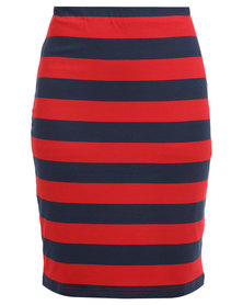 Utopia Pencil Skirt Red and Navy