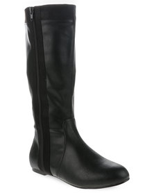 Utopia Knee High Boot with Side Zip Black