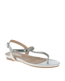 Utopia Rhinestone T Bar Sandals White