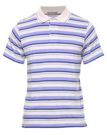 Utopia Stripe Polo Tee Blue