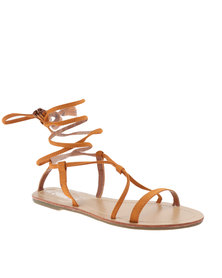 Utopia Lace Up Flat Sandals Camel