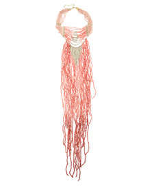 Utopia Drape Tassel Necklace Pink
