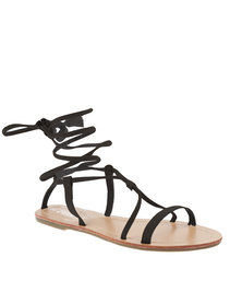 Utopia Lace Up Flat Sandals Black
