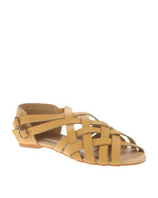 Utopia Full Vamp Strappy Sandals Camel