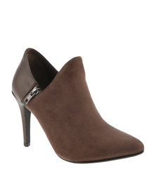 Utopia Pointy Suedette Heel Shooties Taupe