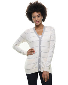 Utopia Stripe Cardigan Milk Grey