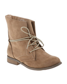 Utopia Lace Up Combat Boot Sand