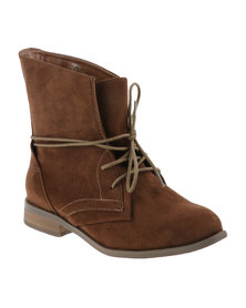 Utopia Lace Up Combat Boot Brown
