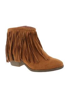 Utopia Tassel Suedette Heel Boot Camel
