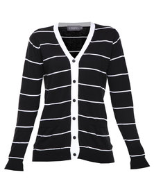 Utopia Stripe Cardi Black White