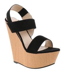 Utopia Bandage Platform Wedge Sandals Black