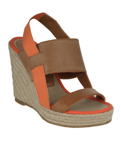 Utopia Colour Block Wedges Tan
