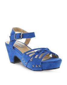 Utopia Block Heel Sandal with Stud Trim Blue