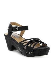 Utopia Block Heel Sandal with Stud Trim Black